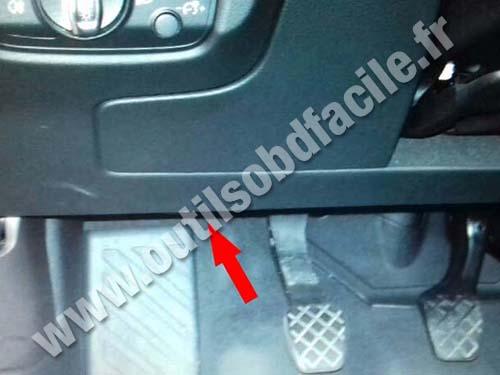 OBD2 connector location in Audi A3 (8V) (2012