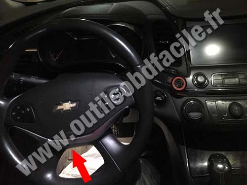 OBD2 connector location in Chevrolet Impala (2014 - ...) - Outils OBD Facile