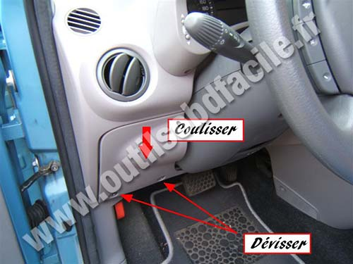 obd2 connector location in fiat panda 2  2003