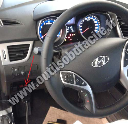 obd2 connector location in hyundai i30  2012 -