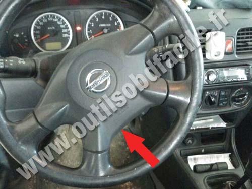 OBD2 connector location in Nissan Almera (2000 - 2006) - Outils OBD on