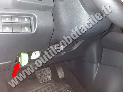 Nissan Leaf - Under the steering wheel