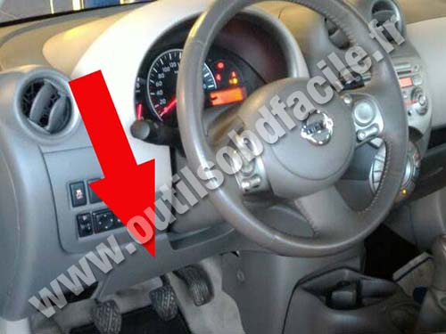 2018 Nissan Wingroad >> OBD2 connector location in Nissan Micra (2010 - 2017) - Outils OBD Facile