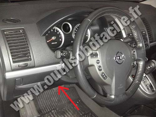 OBD2 connector location in Nissan Sentra (2007 - 2012 ...