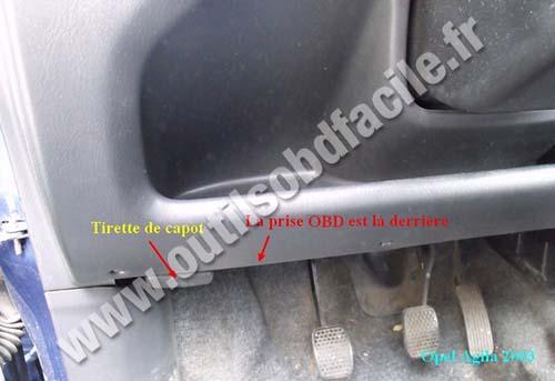 Bonnet release Opel Agila