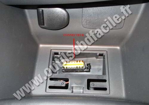 obd2 connector location in renault clio 4 2012 outils obd facile. Black Bedroom Furniture Sets. Home Design Ideas