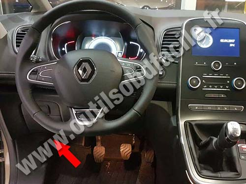 obd2 connector location in renault scenic iv 2016 outils obd facile. Black Bedroom Furniture Sets. Home Design Ideas
